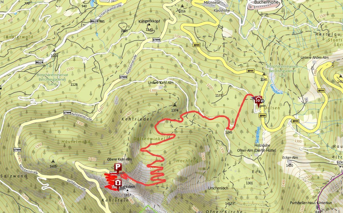 Streckenverlauf Vom Ofnerboden Auf Den Kehlstein Kehlstein Kehlsteinhaus Wanderung