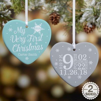 84463ef6dff1c My Very First Christmas 2-Sided Glossy Personalized Heart Ornament ...