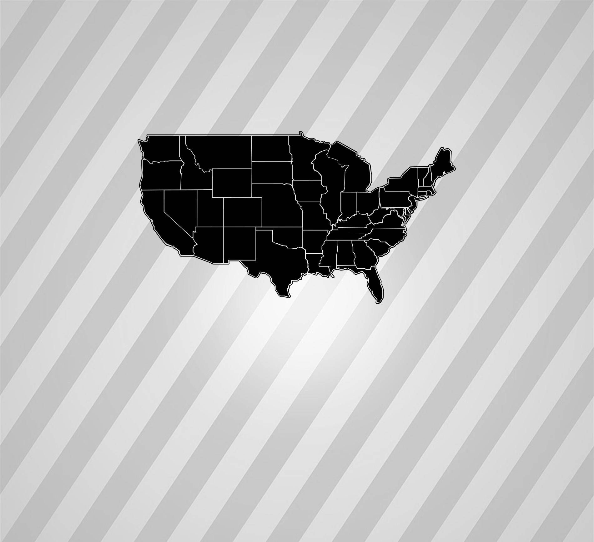 Map American States Maps Silhouette Svg Dxf Eps Silhouette Rld