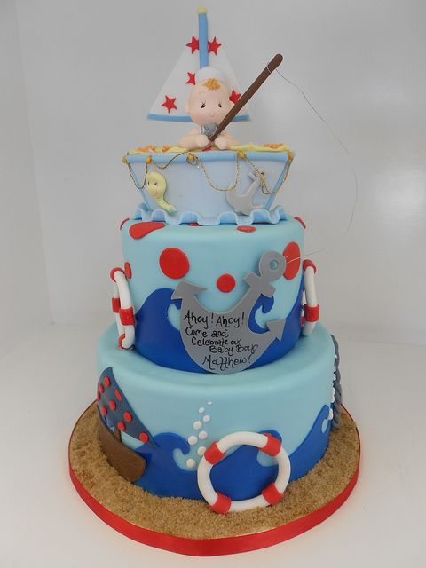 Nautical Baby Shower Cake...soo Cute And Different!! Baby Boy!