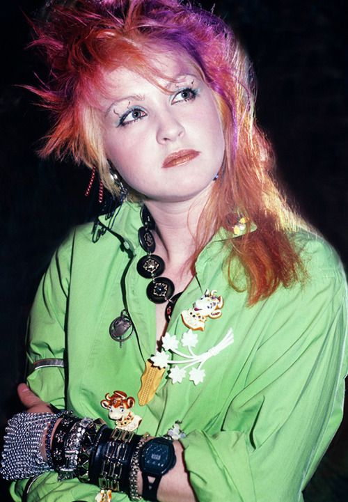 Cyndi Lauper. I wanted my hair like this. heh. I did shave the undersides under my bob in the early 90's.  It was my secret! =)