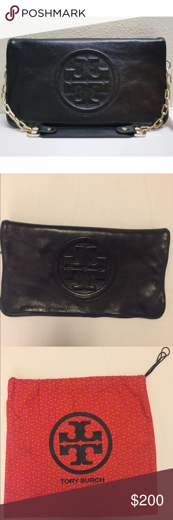 Tory Burch Reva Clutch Black Tory Burch Reva clutch/ hangbag in black. Removable strap. Comes with dust bag. Tory Burch Bags Clutches & Wristlets