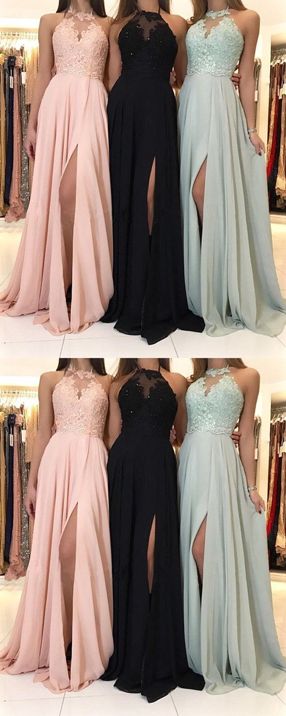 Charming Lace Halter Long Chiffon Split Evening Gowns 2018 Formal