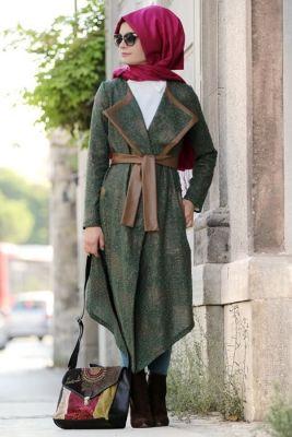 Gamze Polat Haki Eva Deri Detayli Kap Kadin Kiyafetleri Moda Stilleri Giyim