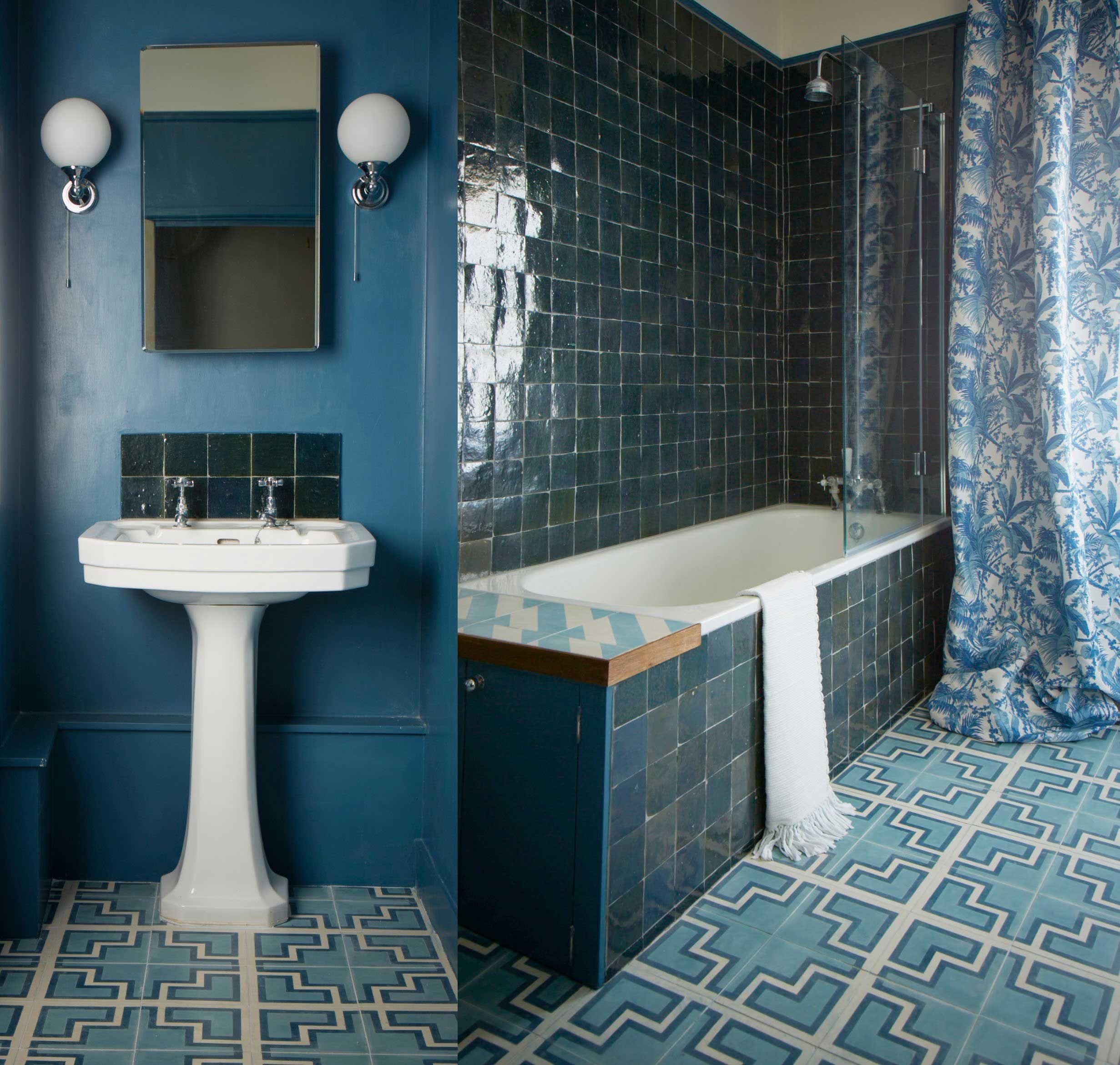 Floor Tiles Cement Tile Bathroom Boho Bathroom