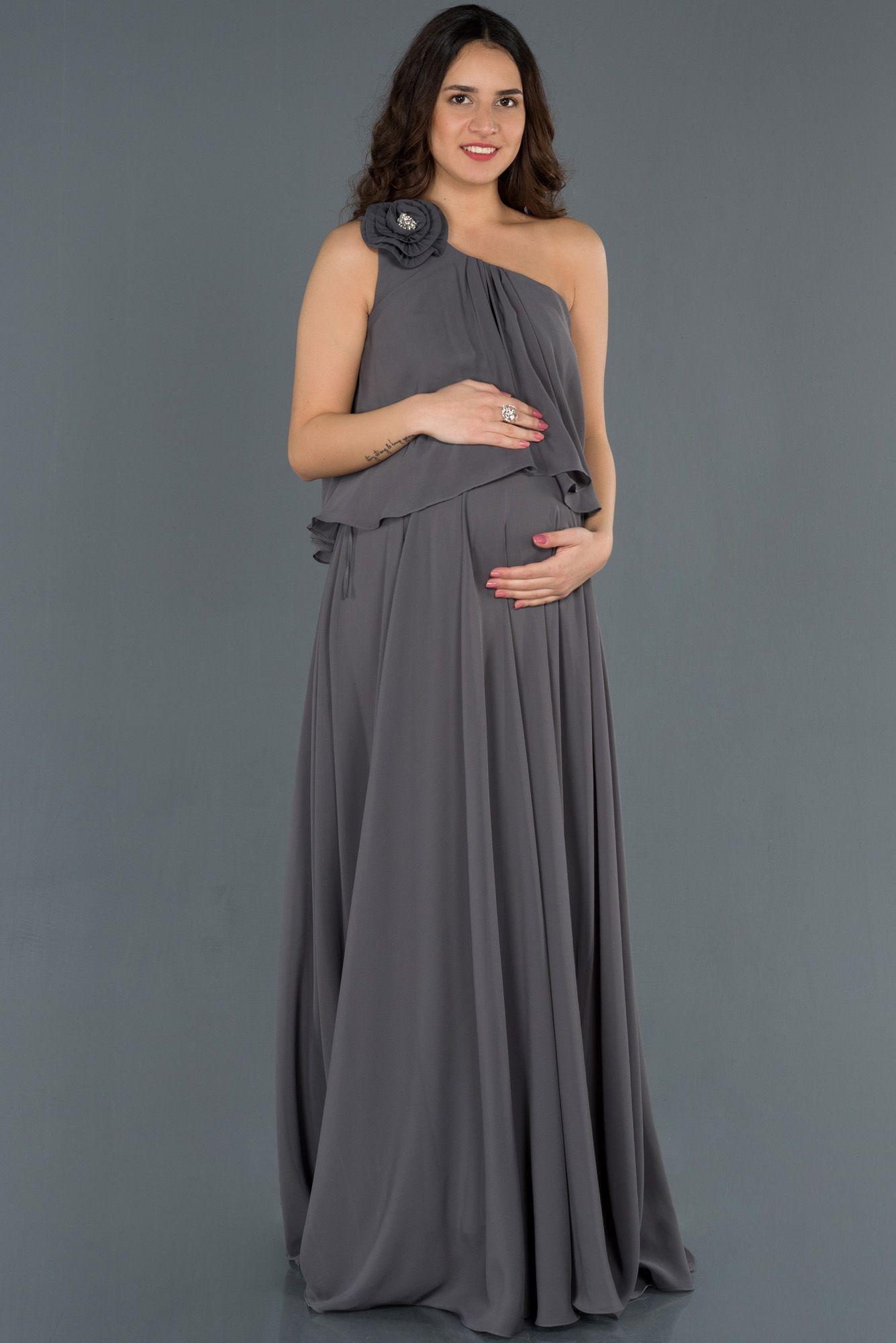 Antrasit Uzun Tek Omuz Hamile Abiye Abu754 2020 Elbise Modelleri Elbise Mini Elbise