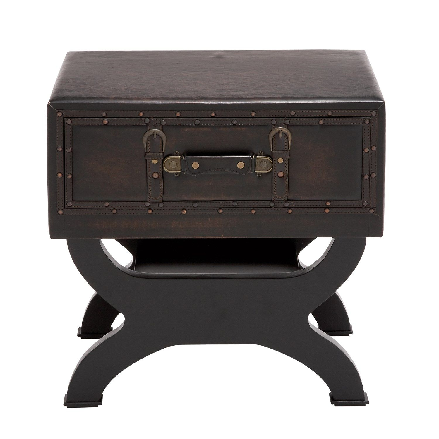 Woodland Imports 55744 The Sleek Wood Leather End Table Trunk