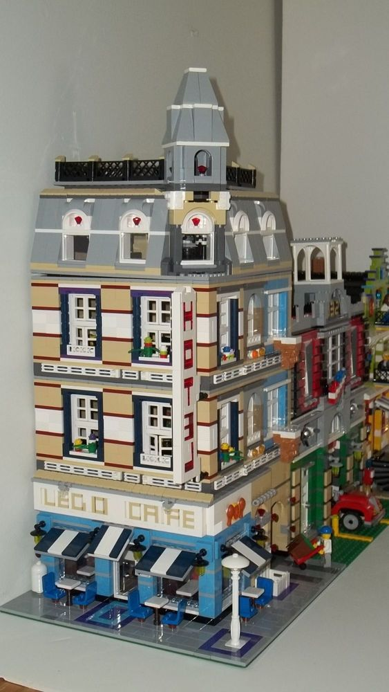 Huge Custom Lego Cafe Hotel Modular Town House Instructions Only