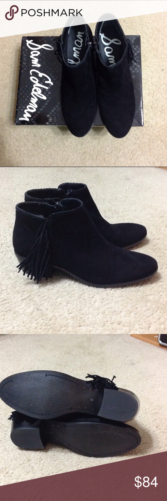 """Sam Edelman Paige Fringed Bootie NIB Paige Fringed Ankle Bootie.  Perfect Christmas Gift! Black Sueded Leather Upper, inside zipper, braided detailing along top line.  1.75"""" heel.  Brand New in Box! Sam Edelman Shoes Ankle Boots & Booties"""