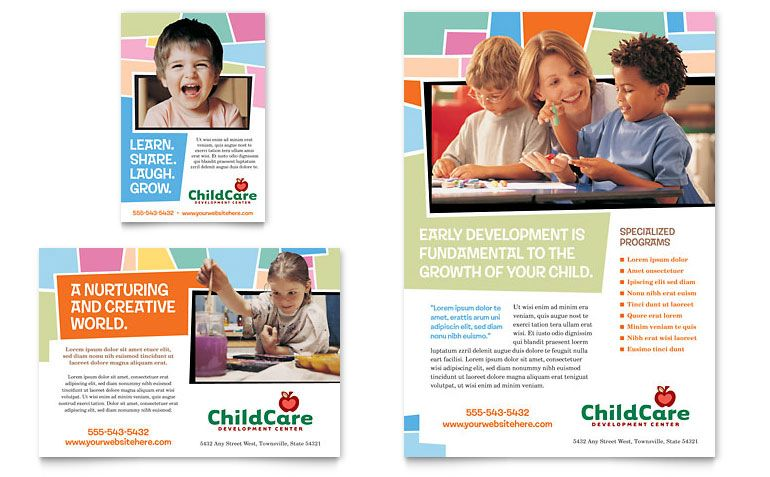 Preschool Kids & Day Care - Flyer & Ad Template Design | Early ...