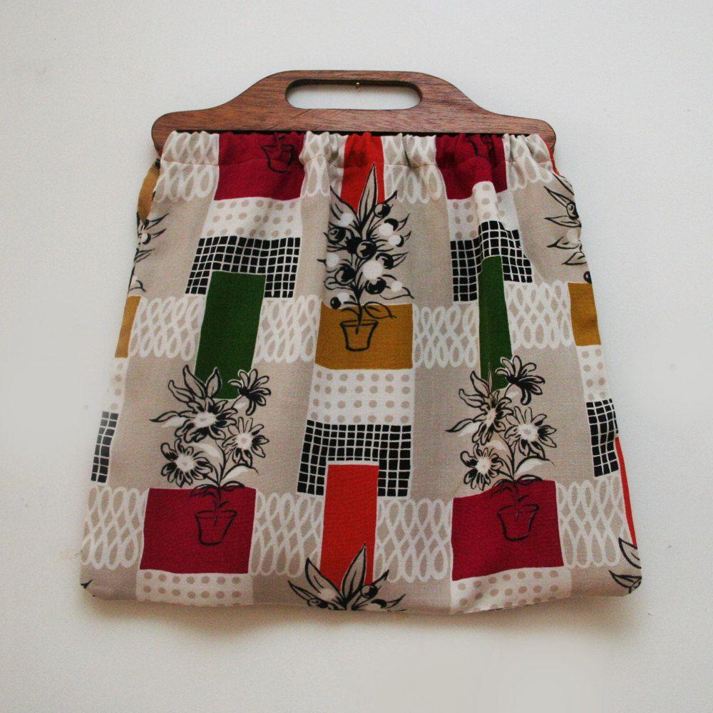 Vintage Knitting Bag : S fabric knitting bag vintage bags