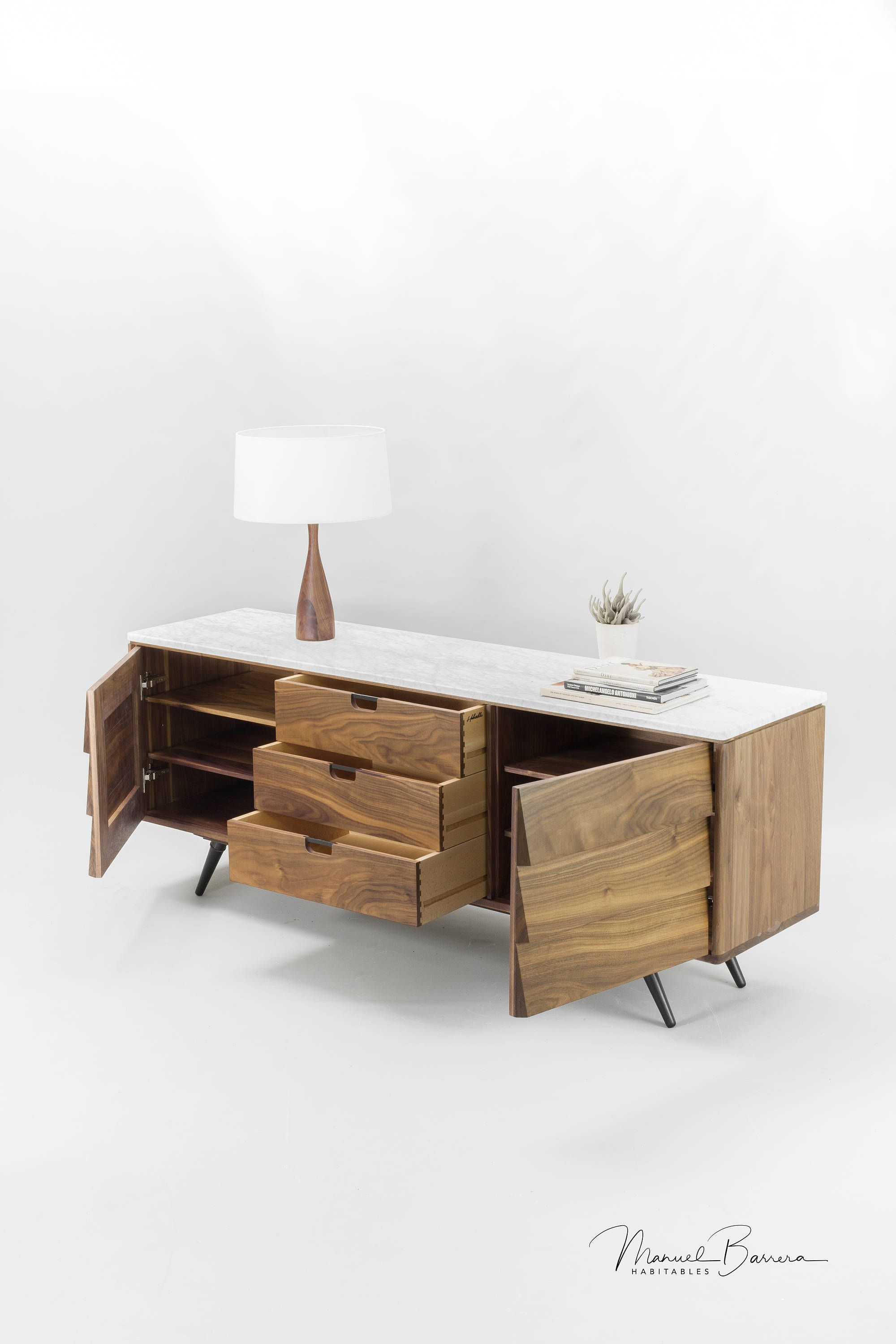 Walnut And Marble Sideboard By Manuel Barrera With Images Sideboard Marble