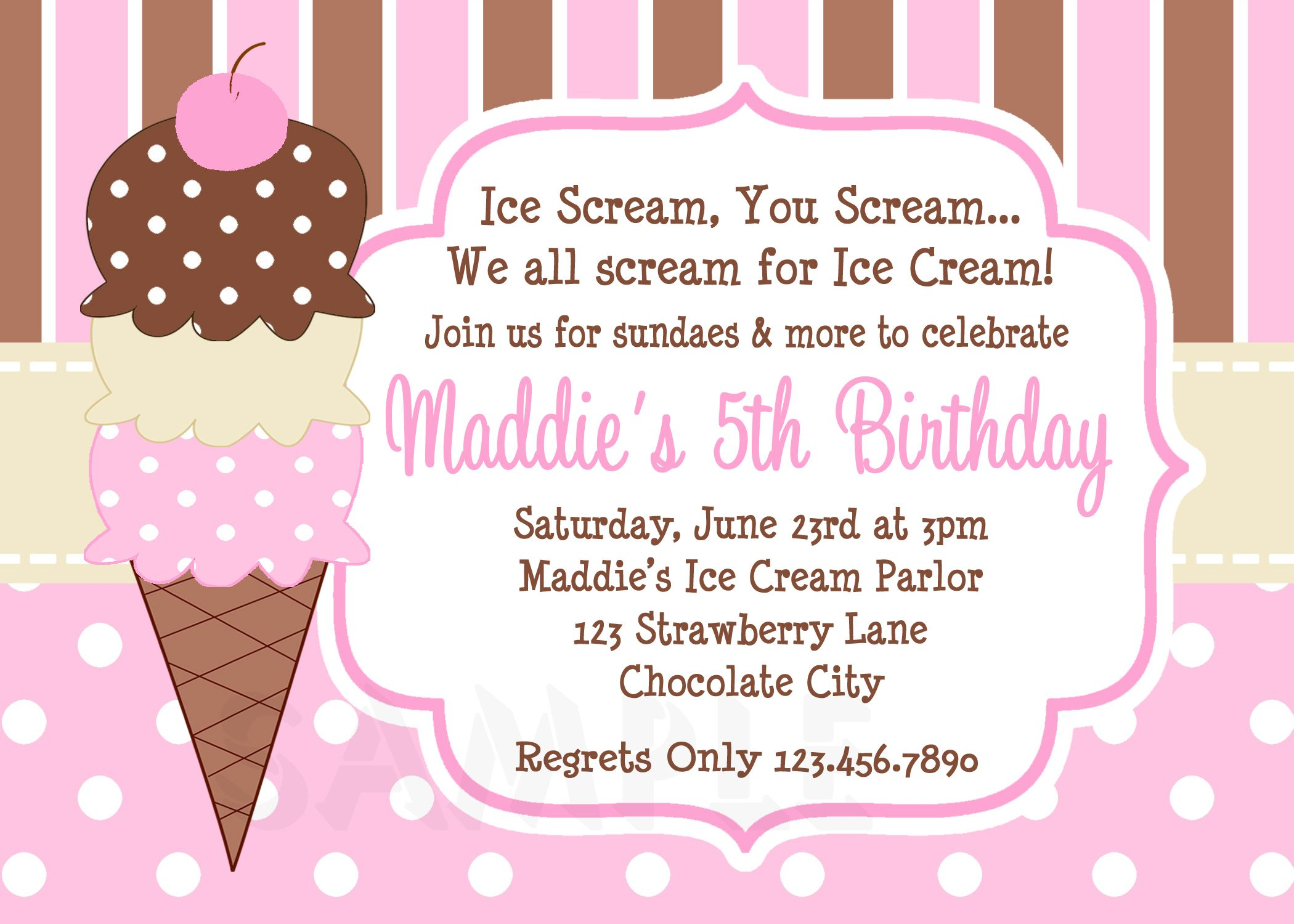 Cool FREE Template Ice Cream Birthday Party Invitations | Baby ...