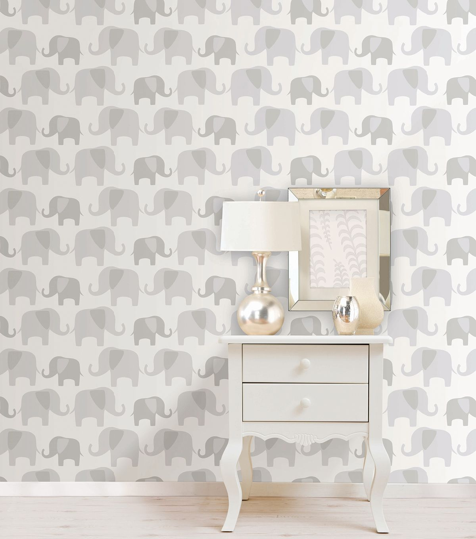 Wallpops Nuwallpaper Gray Elephant Parade Peel And Stick Wallpaper Jo Ann Baby Nursery Wallpaper Baby Wallpaper Nursery Wallpaper