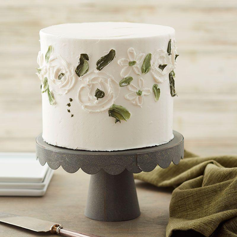 Elegant White Rose Buttercream Cake | Recipe in 2020 ...