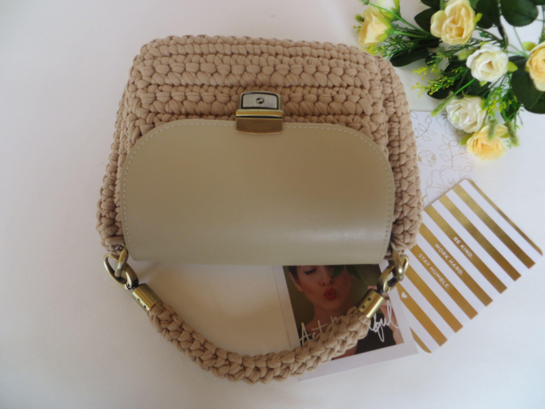 f7d2fae3ac2e Beige crochet bag Casual bag Knitted handbag Knit handbag Summer ...