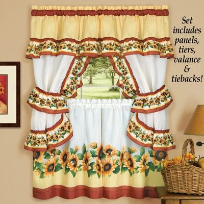 Charming Sunflower Garden Curtain Tier Set Cottage Curtains Curtains Sweet Home Collection