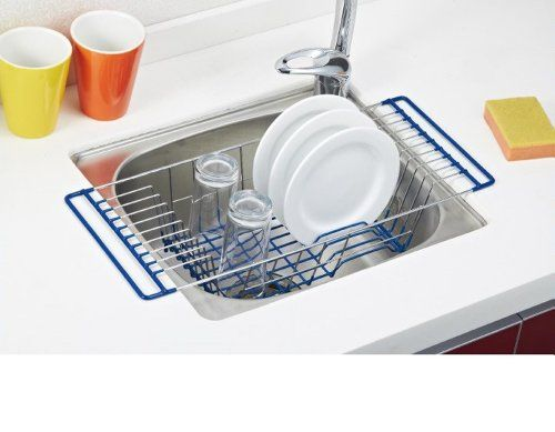 Over The Sink Dish Drainer, Chrome And Blue, Steel