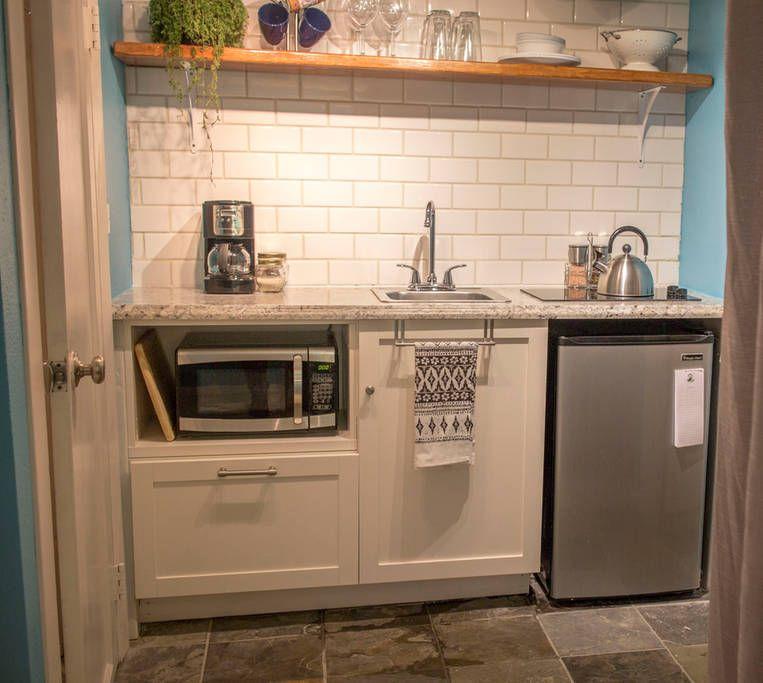 Kitchenette: Mini Fridge, Cook Top, Microwave And Coffee