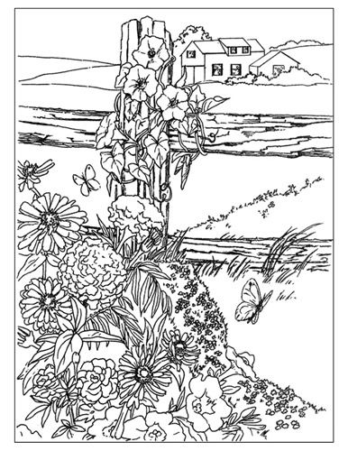 Line Drawing Of Wildflowers On Fence With House In Background