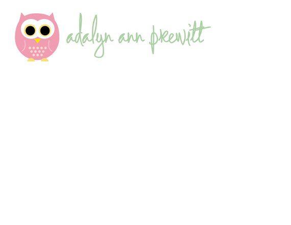 Pink Owl Flat Notecards