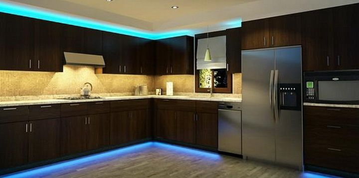 Kitchen Cabinets With Blue LED Strip Lighting DIY Tips Tricks - Led strip lighting kitchen cabinet