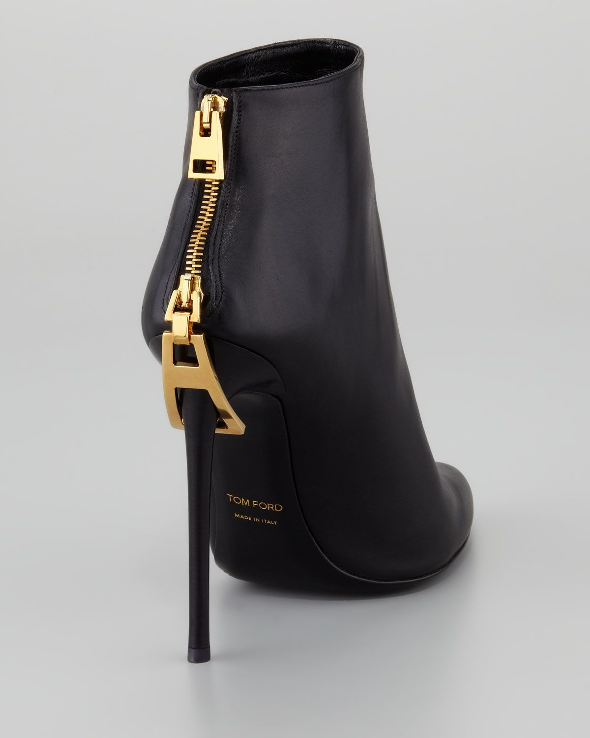 tom ford zipper heel leather ankle boot neiman