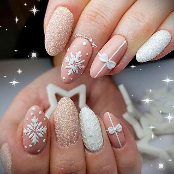 3-D Snowflakes Nail Design