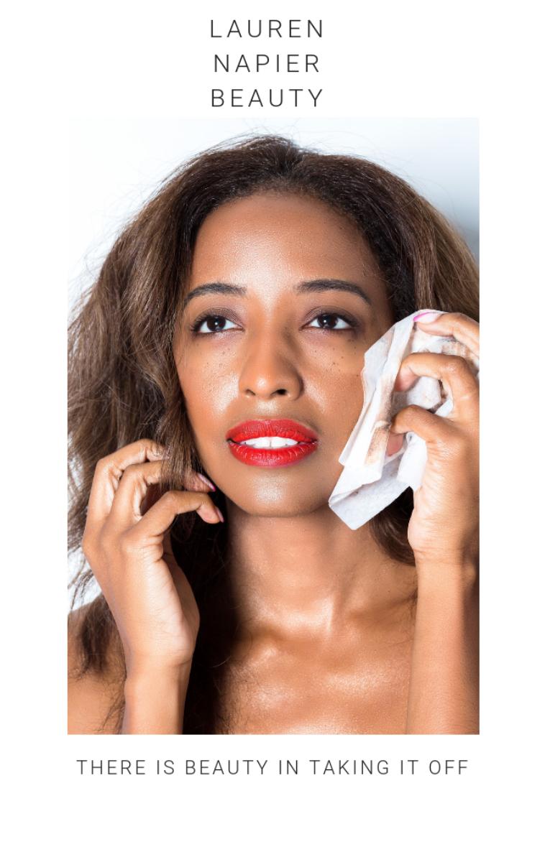 LAUREN NAPIER BEAUTY is an all natural makeup wipe that