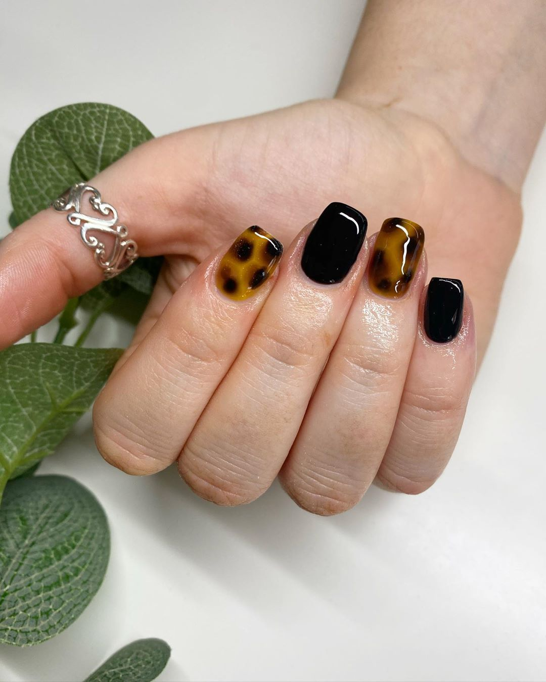 "RiaJadenails. on Instagram: ""I haven't done a full tortie in forever! Still love it😎 . - using @the_gelbottle_inc Jet black, Glass yellow & chocolate . . #thegelbottle…"""