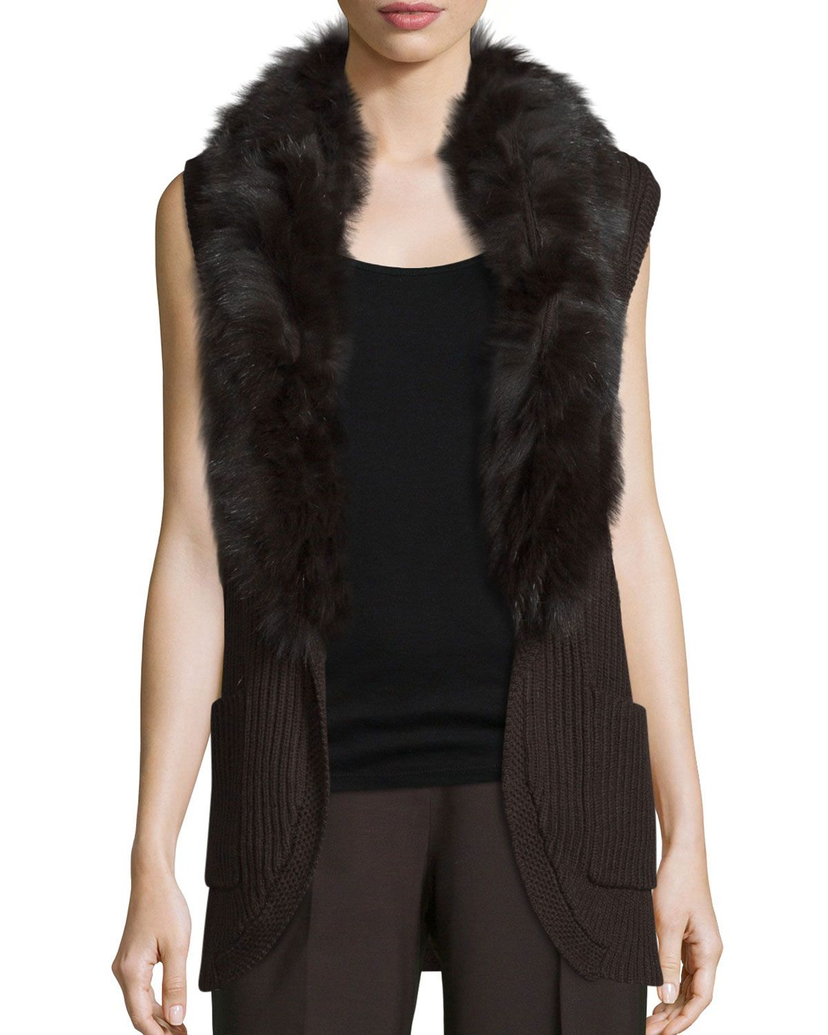 Kyla Fur-Trim Belted Sweater Vest, Chocolate (Brown) - Kobi ...