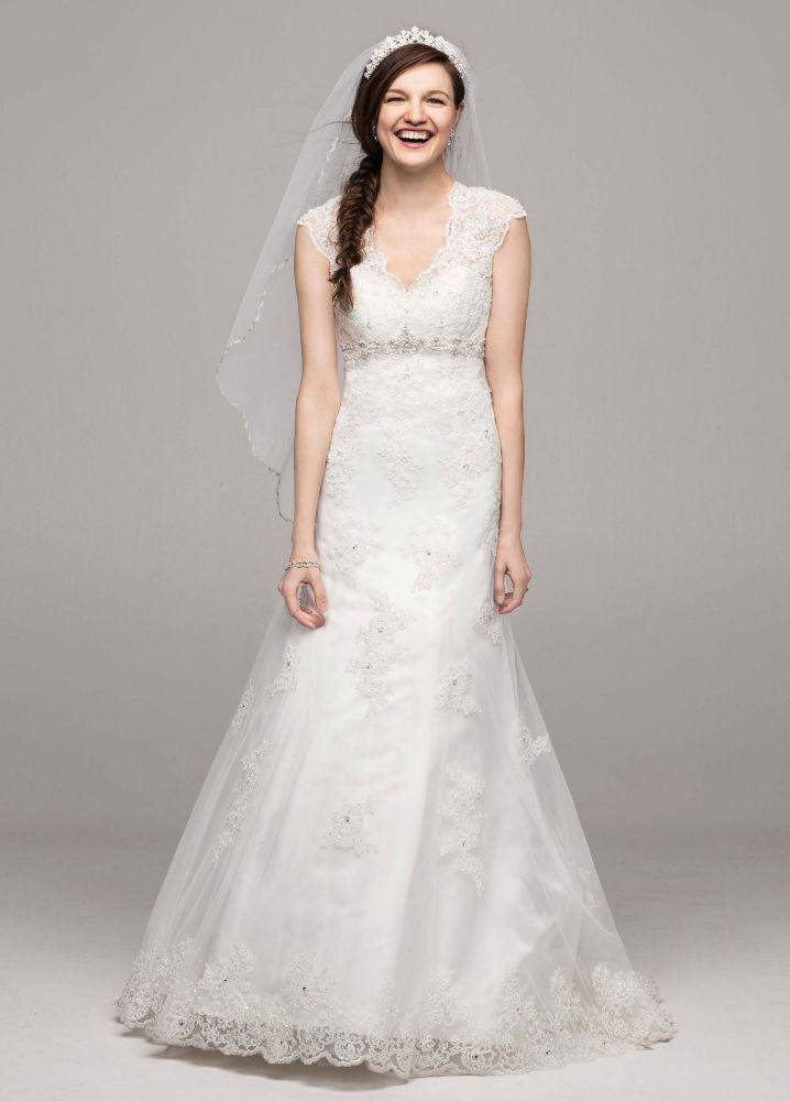 Petite Lace Satin Wedding Dress With Cap Sleeves Wedding Dresses
