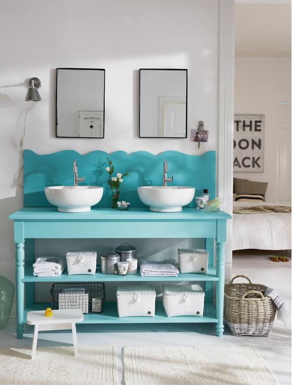turquoise vanity