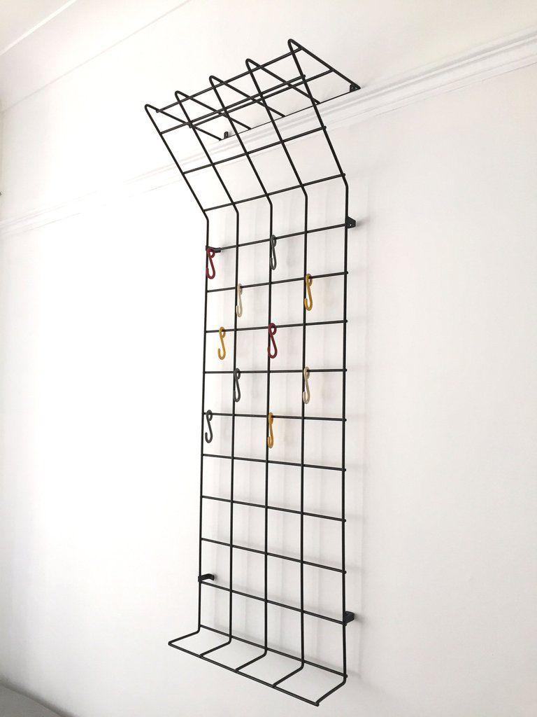 Mid Century Geometric Wire Grid Coat Rack By Karl Fitchel Coat Rack Wall Wall Mounted Coat Rack Coat Rack
