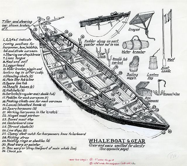 image  drawing of whaleboat and gear