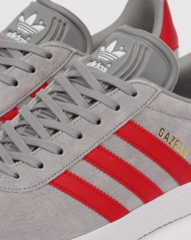 1c5f6345592 Adidas Gazelle Trainers Solid Grey Red