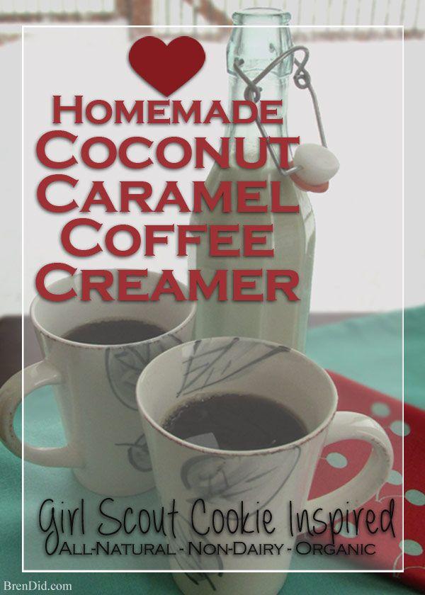 This easy recipe for Coconut Caramel Coffee Creamer makes a delicious, non-dairy coffee ...