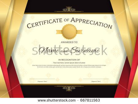 Luxury Certificate Template With Elegant Red And Golden Border