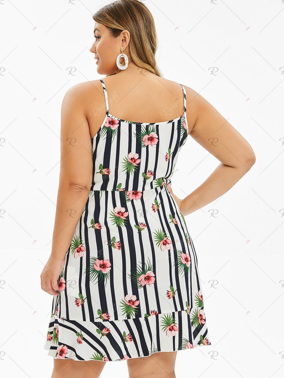 Plus Size Floral Print Ruffle Cami Dress Ruffle Cami Dress Striped Mini Dress Cami Dress [ 1596 x 1200 Pixel ]