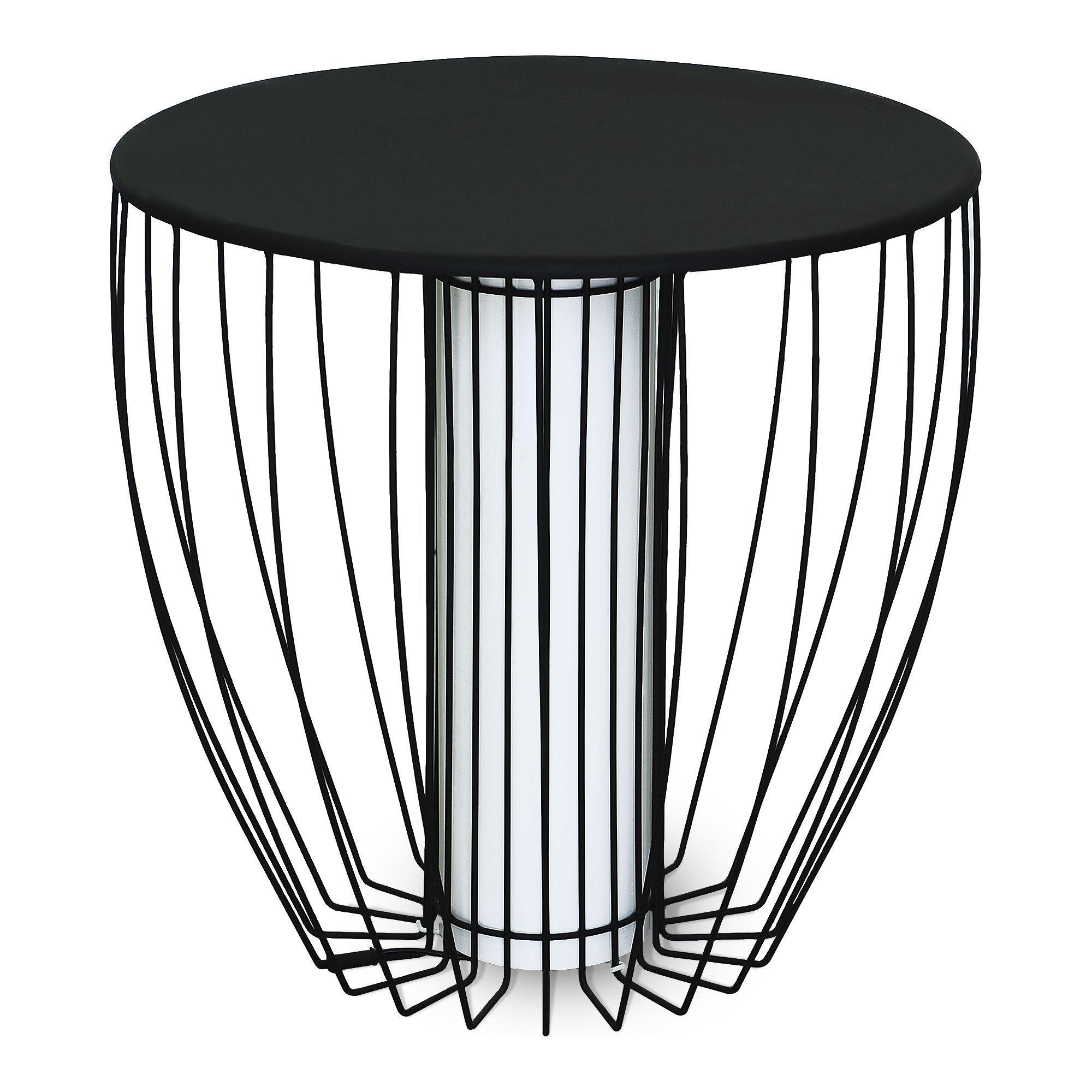 Bout de canapé lumineux en acier Noir Kama Tables