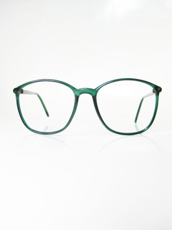 52dd1e5fd9 Vintage Lacoste Eyeglasses 1980s Green Round Wayfarer Womens Ladies Girls  Indie Hipster Glasses Eyeglass Frames Emerald Forest Dark Designer