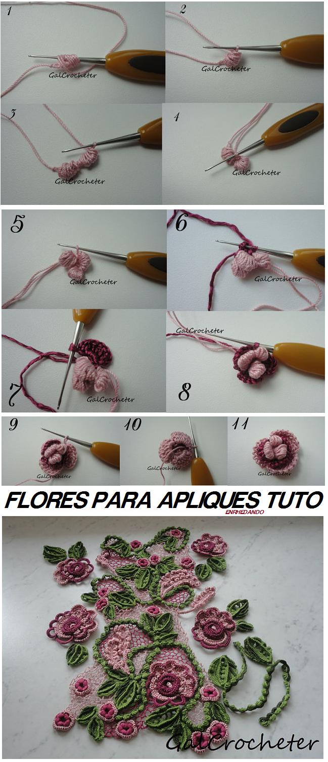 Tutorial Flores para Apliques de Crochet - Patrones Crochet ...