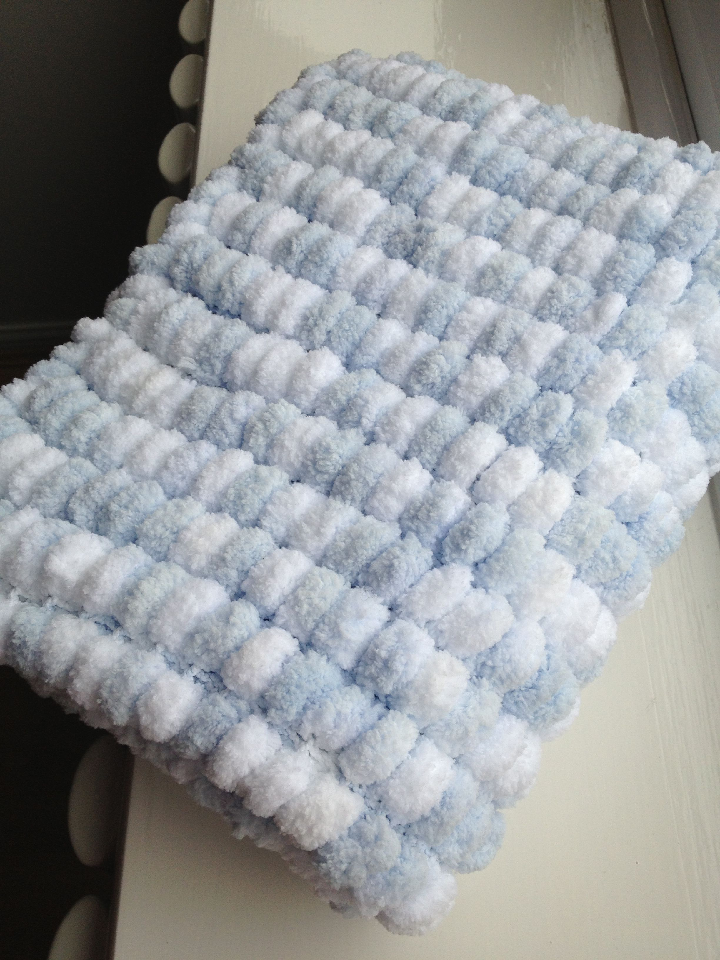 Baby Blue And Grey Bedroom: Baby Blue And White Marshmallow/pom Pom Blanket