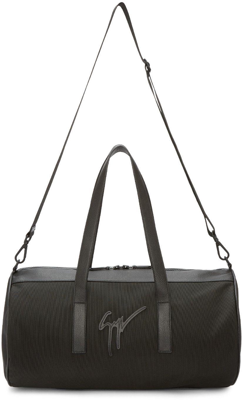 GIUSEPPE ZANOTTI Black Canvas & Leather Duffle Bag. #giuseppezanotti #bags #shoulder bags #hand bags #canvas #leather #lining #
