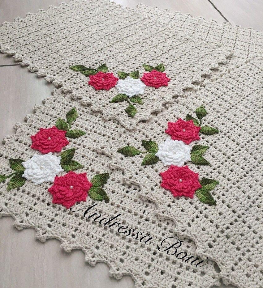 Jogo De Tapetes Croche Banheiro Decora O Tapetes Em Croch  -> Fotos De Tapete De Croche