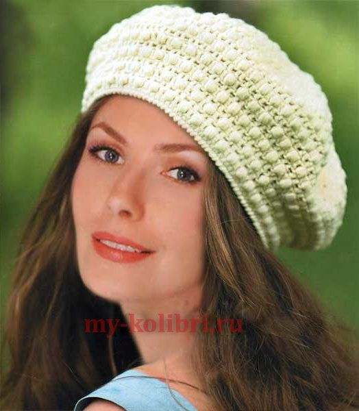 берет крючком пышным столбиком беретышапки шляпы вязание