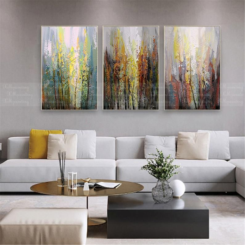 3 Pieces Abstract Landscape Painting Canvas Wall Art Pictures Etsy In 2021 Abstract Wall Art Living Room Acrylic Wall Decor Wall Art Pictures