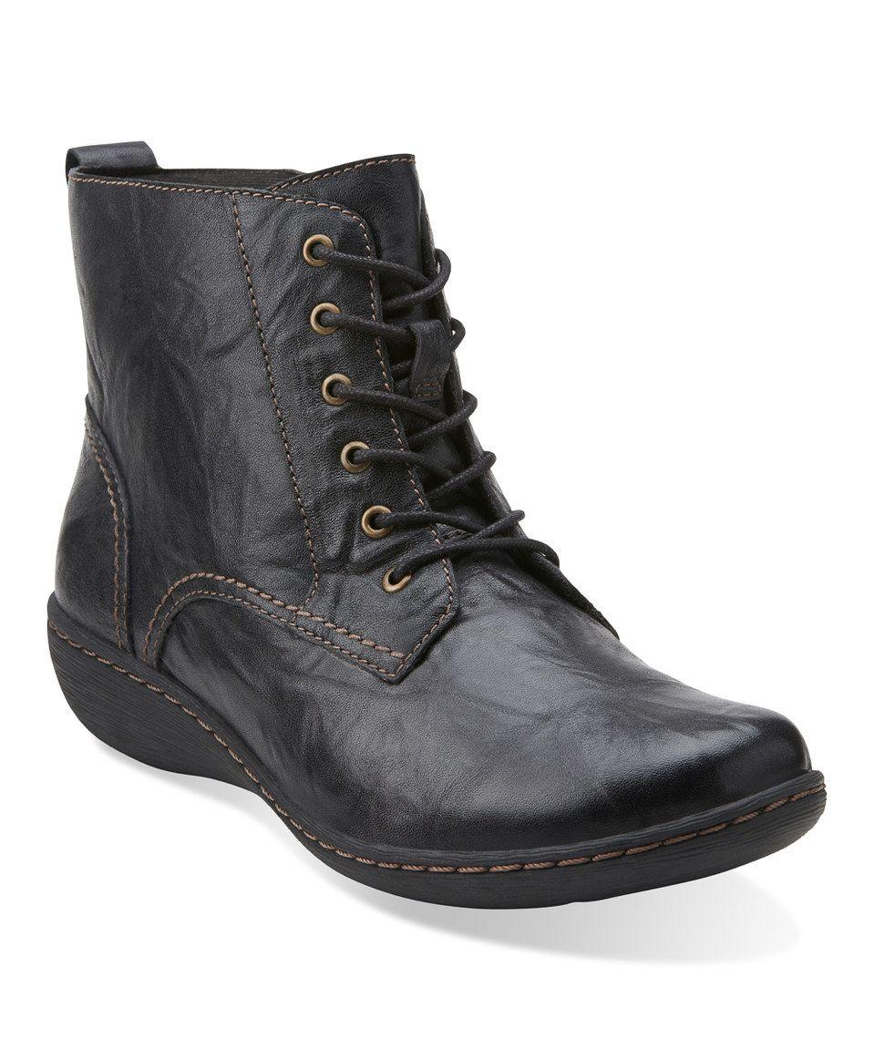 Clarks Black Fianna Holly Leather Boot by Clarks #zulilyfinds