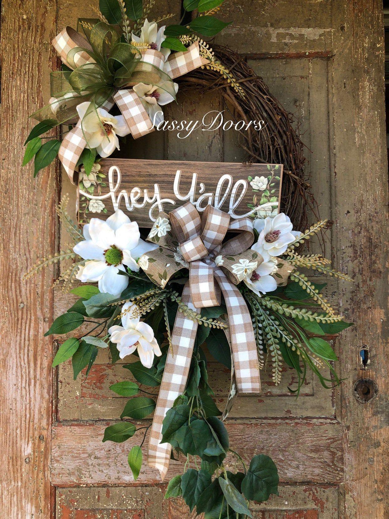Photo of Everyday wreath-grapevine wreath-magnolia wreath for front door wreath with magnolias, wreath-cheeky door wreath,
