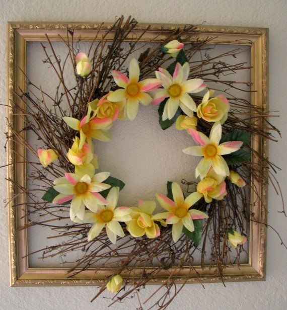 Beautiful spring Yellow and Pink Floral Grapevine Wreath. A lovely addition to any home decor. This wreath the perfect springtime addition to any